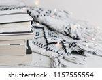 woolen knitted blanket  lights... | Shutterstock . vector #1157555554