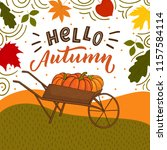 autumn background with field ... | Shutterstock .eps vector #1157584114