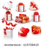 set of colorful vector gift...