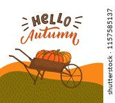 autumn background with grass... | Shutterstock .eps vector #1157585137