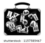old black luggage with... | Shutterstock .eps vector #1157585467