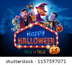 halloween illustration with kids | Shutterstock .eps vector #1157597071