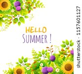 floral frame. summer flowers in ... | Shutterstock .eps vector #1157601127