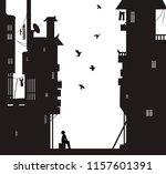 night dreamer  boy sits near... | Shutterstock .eps vector #1157601391