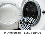 photo of open washing machine... | Shutterstock . vector #1157618401