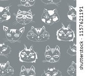 seamless pattern with cute cats ... | Shutterstock .eps vector #1157621191