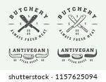 set of vintage butchery meat ... | Shutterstock . vector #1157625094