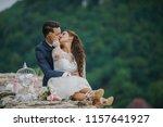 young wedding couple  beautiful ... | Shutterstock . vector #1157641927