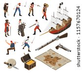 set of isometric icons armed...   Shutterstock .eps vector #1157670124