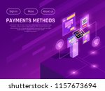 cash money and electronic... | Shutterstock .eps vector #1157673694
