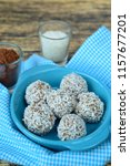 homemade chocolate coconut... | Shutterstock . vector #1157677201