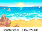 seascape on a sunny day | Shutterstock .eps vector #1157693131