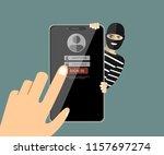 thief hacker in mask stealing... | Shutterstock .eps vector #1157697274