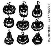 halloween pumpkins silhouettes... | Shutterstock .eps vector #1157700034
