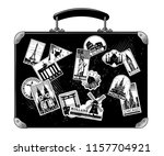 old black luggage with... | Shutterstock . vector #1157704921