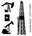 oil well silhouette set   Shutterstock .eps vector #115771897
