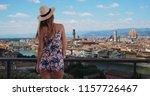 rear shot of millennial girl in ... | Shutterstock . vector #1157726467
