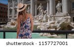rear shot of millennial girl in ... | Shutterstock . vector #1157727001