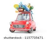 travel concept. retro car full... | Shutterstock . vector #1157735671