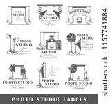 set of vintage photo studio... | Shutterstock .eps vector #1157741884
