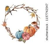 watercolor autumn tree branch ... | Shutterstock . vector #1157742547