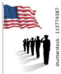 soldiers saluting in front of... | Shutterstock .eps vector #115774387