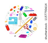 set of tools for needlework and ... | Shutterstock .eps vector #1157750614