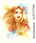 woman face. hand painted... | Shutterstock . vector #115777795