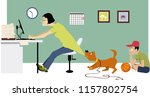 overworking single mother... | Shutterstock .eps vector #1157802754