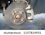 brake disc and used brake pads... | Shutterstock . vector #1157814931