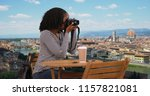 happy woman with gorgeous view... | Shutterstock . vector #1157821081