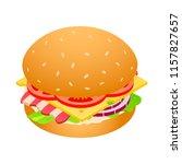 american hamburger unhealthy... | Shutterstock .eps vector #1157827657