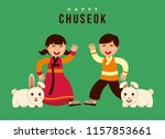 chuseok korean thanksgiving day ... | Shutterstock .eps vector #1157853661