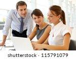 business presentation on laptop ... | Shutterstock . vector #115791079