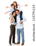 family with arms up looking... | Shutterstock . vector #115791115