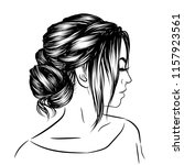 woman with stylish classic bun... | Shutterstock .eps vector #1157923561