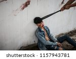 the man's face was wounds and... | Shutterstock . vector #1157943781