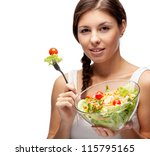 healthy woman with salad on... | Shutterstock . vector #115795165