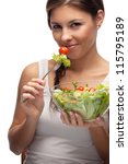woman and salad | Shutterstock . vector #115795189