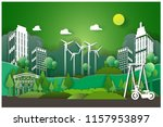 illustration of eco and  with... | Shutterstock .eps vector #1157953897