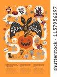 happy halloween flyer template... | Shutterstock .eps vector #1157956297