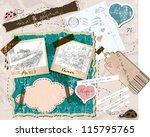 scrapbooking set with stamps... | Shutterstock .eps vector #115795765