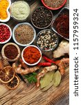 spices and herbs on table. food ... | Shutterstock . vector #1157959324