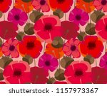 poppy flowers and seed boxes... | Shutterstock .eps vector #1157973367