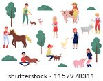 farmers taking care of animals... | Shutterstock .eps vector #1157978311