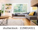 grey corner couch with cushions ... | Shutterstock . vector #1158014311