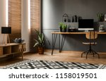 lamp on wooden cupboard near... | Shutterstock . vector #1158019501