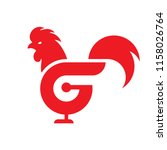 g rooster red chicken logo icon ... | Shutterstock .eps vector #1158026764