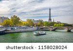 day view of eiffel tower  pont... | Shutterstock . vector #1158028024