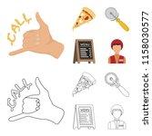 a pizza cutter  a slice  a menu ... | Shutterstock .eps vector #1158030577